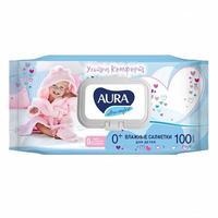 Aura Ultra Comfort Влажные салфетки для детей с алоэ и витамином Е 100шт