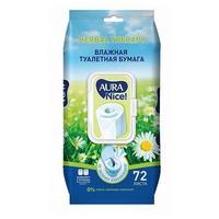 Aura Влажная туалетная бумага 72шт