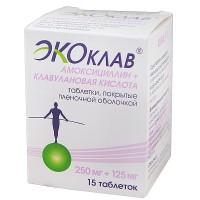 Экоклав (амоксициллин+клавулановая кислота) таблетки 250 мг+125 мг, 15 шт.