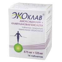 Экоклав (амоксициллин+клавулановая кислота) таблетки 875 мг+125 мг, 14 шт.