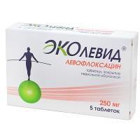 Эколевид (левофлоксацин) таблетки 250 мг, 5 шт.