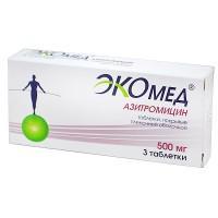 Экомед (азитромицин) таблетки 500 мг, 3 шт.