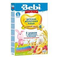 Bebi Premium 5 злаков с абрикосом и малиной с пребиотиками 6 мес 200 г