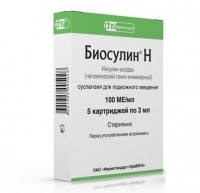 Биосулин Н суспензия для п/кожн.введ.100 МЕ/мл картридж 3 мл 5 шт. упак.
