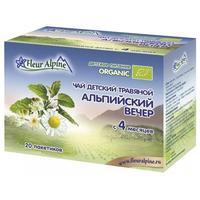 Чай Флер Альпин (Fleur Alpine) травяной Органик Альпийский вечер с 4 мес. 20 шт. упак.