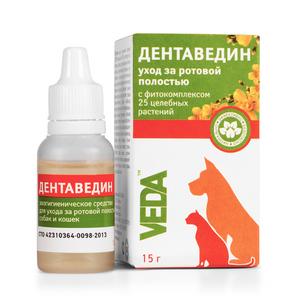 Дентаведин Уход за ротовой полостью кошек и собак фл. 15 г