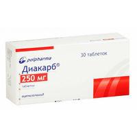 Диакарб таблетки 250 мг, 30 шт.