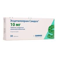 Эсциталопрам Сандоз таблетки покрыт.плен.об. 10 мг 30 шт.
