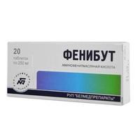 Фенибут таблетки 250 мг, 20 шт.