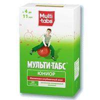 Мульти-табс юниор таблетки жевательные, 60 шт., малина-клубника
