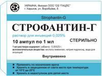 Строфантин-г р-р для в/в введ. 0,25мг/мл амп. 1мл №10