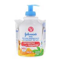 Johnsons Baby Pure Protect детское жидкое мыло 2в1 для мытья рук и тела 300 мл+салфетки детские влажные 25 шт. в подарок 1 уп.