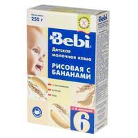 Каша Беби (Bebi) молочная рисовая и банан с витаминами, железом и йодом 6 мес. 250г упак.