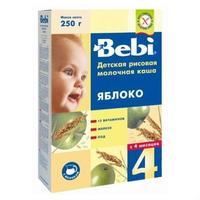 Каша Беби (Bebi) молочная рисовая и яблоко с витаминами, железом и йодом 4 мес. 250г упак.