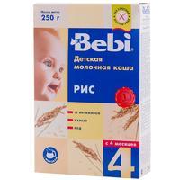 Каша Беби (Bebi) молочная рисовая с витаминами железом и йодом 4 мес. 250г упак.
