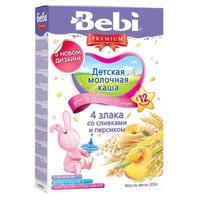 Каша Беби (Bebi) Премиум 4 злака со сливками и персиком 12 мес. 200г упак.