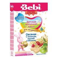 Каша Беби (Bebi) Премиум для полдника молочная овсяная с печеньем вишней и яблоком 6 мес. 200г упак.
