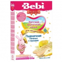 Каша Беби (Bebi) Премиум для полдника молочная пшеничная печенье с грушей 6 мес. 200г упак.