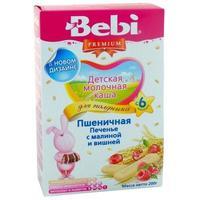 Каша Беби (Bebi) Премиум для полдника молочная пшеничная печенье с малиной и вишней 6 мес. 200г упак.