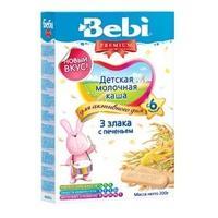 Каша Беби (Bebi) Премиум молочная 3 злака с печеньем 6 мес. 200г упак.