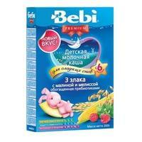 Каша Беби (Bebi) Премиум молочная Для сладких снов 3 злака с малиной и мелиссой 6 мес. 200г упак.