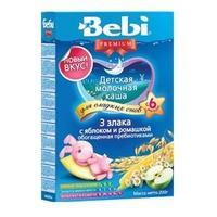 Каша Беби (Bebi) Премиум молочная Для сладких снов 3 злака с яблоками и ромашкой 6 мес. 200г упак.
