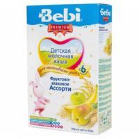 Каша Беби (Bebi) Премиум молочная фруктово-злаковое ассорти 6 мес. 250г упак.