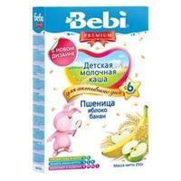 Каша Беби (Bebi) Премиум молочная пшеница яблоко банан 6 мес. 250г упак.