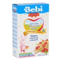 Каша Беби (Bebi) Премиум молочная злаки с малиной и вишней 6 мес. 200г упак.