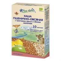 Каша Fleur Alpine молочная Органик пшенично-овсяная с кусочками груши и яблока 10 мес. 200 г упак.