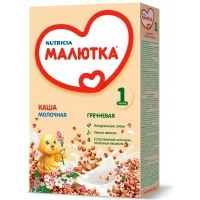 Каша Малютка молочная гречневая с витаминами и минералами 4 мес. 220г упак.