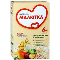 Каша Малютка молочная мультизлаковая с фруктами с витаминами и минералами 6 мес. 220г упак.