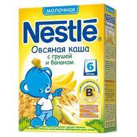 Каша Nestle молочная овсяная с грушей и бананом с бифидобактериями с витаминами и минералами 6 мес. 250г упак.