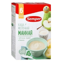Каша Semper молочная манная с яблоком грушей и бананом 6 мес. 200г упак.
