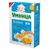 Каша Умница молочная из трехзлаков с абрикосом 6 мес. 200г упак.