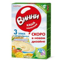Каша Винни молочная 3 злака с манго и бананом 6 мес. 200 г