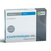 Кларитромицин-OBL таблетки покрыт.плен.об. 500 мг 14 шт.
