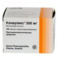 Конвулекс капсулы 500 мг, 100 шт.