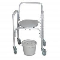 Кресло-туалет Amrus AMCB6809 со спинкой регулируемое по высоте с колесами 1 шт.