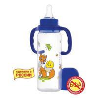 Курносики бутылочка полипропиленовая с ручками с силиконовой соской Колобок арт 11139 250 мл