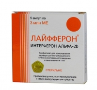 Лайфферон р-р для в/м, субконъюнктив введ и закапывания в глаз 3 млн. МЕ 1 мл флаконы 5 шт.