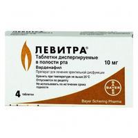 Левитра ОДТ таблетки диспергир. в полости рта 4 шт.
