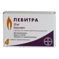 Левитра таблетки покрыт.плен.об. 20 мг, 4 шт.