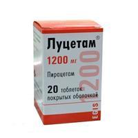 Луцетам таблетки покрыт.плен.об. 1200 мг 20 шт.