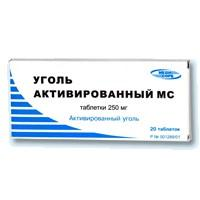 Уголь активированный мс таб. 0,25г №20 (инд.уп.)