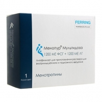 Менопур Мультидоза лиофилизат д/приг. р-ра д/ подкож. введен.1200 МЕ ФСГ+1200 МЕ ЛГ шприц 1 шт.