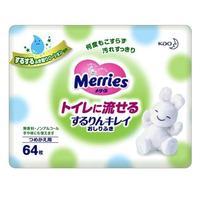 Merries Детские влажные салфетки Flushable запасной блок 64 шт