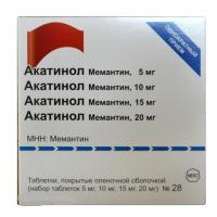 Акатинол мемантин таб. п/о плён. набор (5 м №7, 10 мг №7,15 мг №7, 20 мг №7)