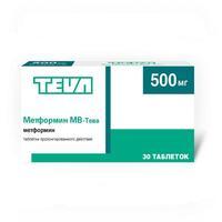 Метформин МВ-Тева таблетки пролонг. действия 500 мг 30 шт. упак.
