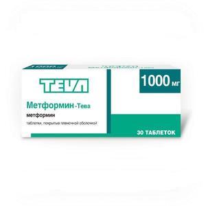 Метформин-Тева таблетки 1000 мг 30 шт. упак.